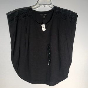 NWTBanana Republic Black Blouse With Lace Panel L1